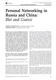 Personal Networking in Russia and China: Blat and Guanxi