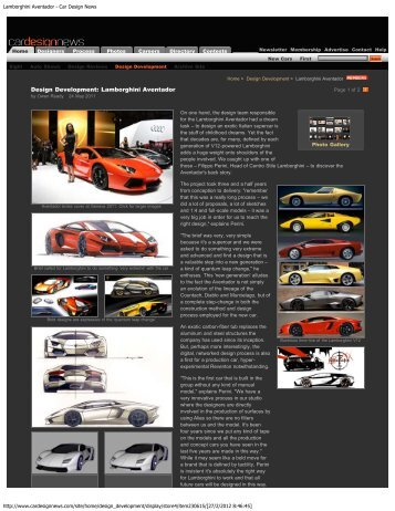 Lamborghini Aventador - Car Design News