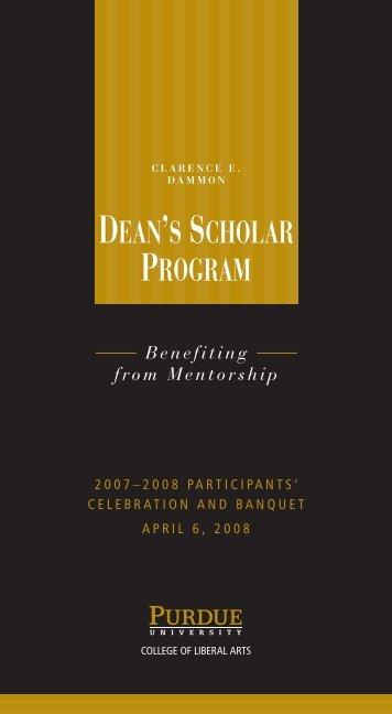 deans scholar program college of liberal arts purdue university