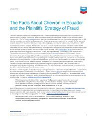 The Facts About Chevron in Ecuador and the Plantiffs' Strategy of ...