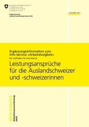 Leistungsansprüche für die Auslandschweizer ... - Treffpunkt-Arbeit