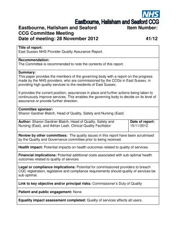 41-12 Quality Report - Eastbourne, Hailsham and Seaford CCG