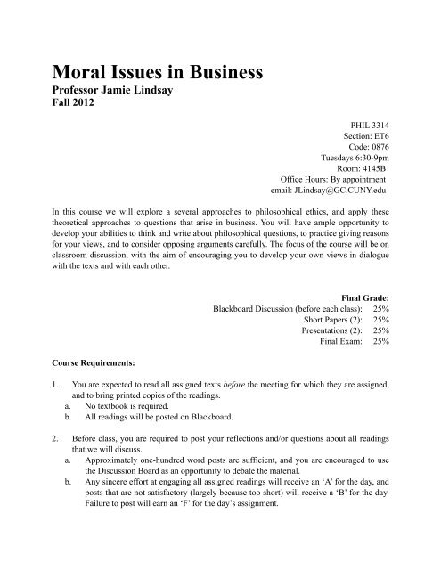 Phil 3314 Moral Issues In Business Lindsay Brooklyn College