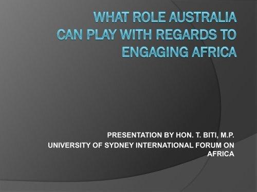 presentation by hon. t. biti, mp university of sydney international ...