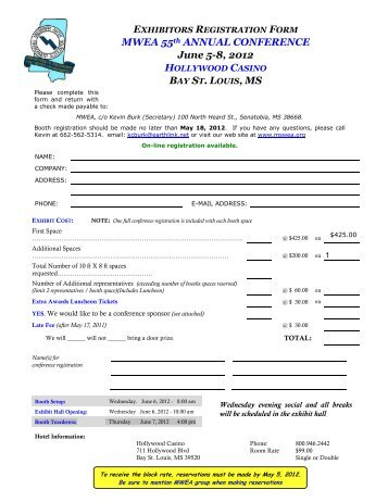 MWEA 55th ANNUAL CONFERENCE June 5-8, 2012