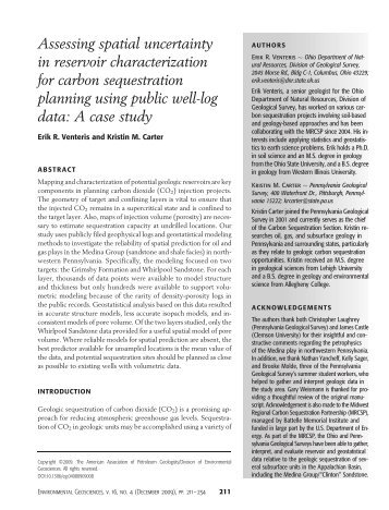 Assessing spatial uncertainty in reservoir characterization for carbon ...