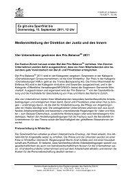 Medienmitteilung der Direktion der Justiz und des Innern