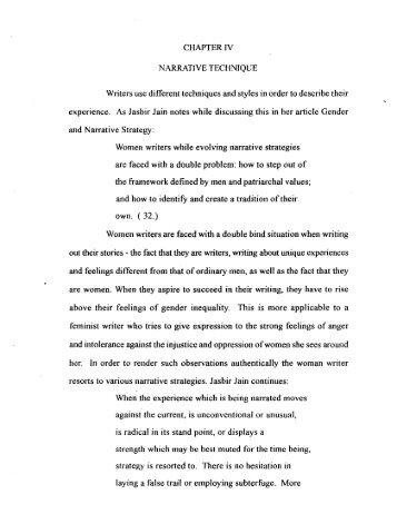 CHAPTER 1V NARRATIVE TECHNIQUE Writers use ... - Shodhganga