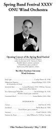 Spring Band Festival XXXV ONU Wind Orchestra - Ohio Northern ...