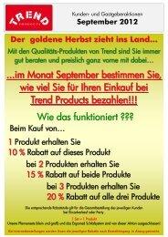 GASTGEBER BONUS von 8 - TREND Products