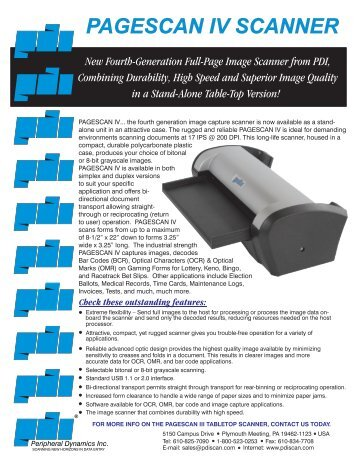 PAGESCAN IV SCANNER - Peripheral Dynamics Inc.