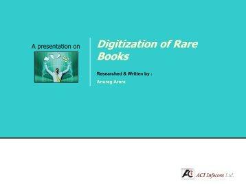 Digitization of Rare Books