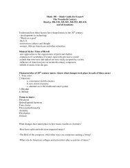 Music 101 – Study Guide for Exam 4 The Twentieth Century ... - PAWS