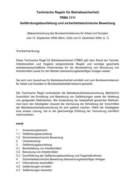 Technische Regel für Betriebssicherheit TRBS 1111 ...