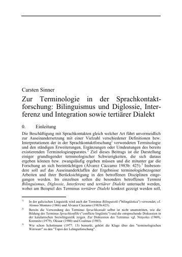 Zur Terminologie in der Sprachkontakt- forschung ... - Carsten Sinner