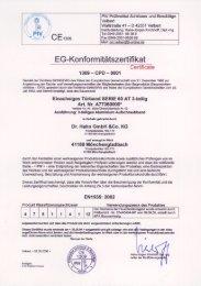 CE-zertifikat für das Türband Serie 60 AT dreiteilig - Über Dr. Hahn