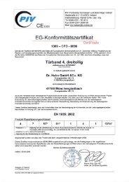 CE-Zertifikat für das Türband 4 dreiteilig - Alu Garden