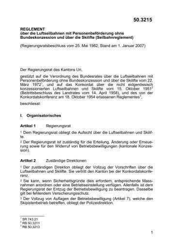 1 REGLEMENT über die Luftseilbahnen mit ... - LexFind