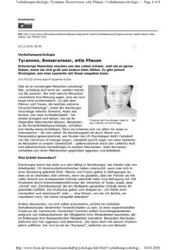 Verhaltenspsyehologie: Tyrannen, Besserwisser, eitle Pfauen ...