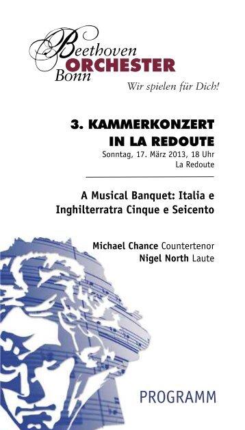 3. KAMMERKONZERT La Redoute - Das Beethoven Orchester Bonn