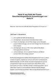 Hartz IV aus Sicht der Frauen Geschlechtsspezifische Auswirkungen ...