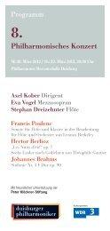 Programm Philharmonisches Konzert - Die Duisburger Philharmoniker
