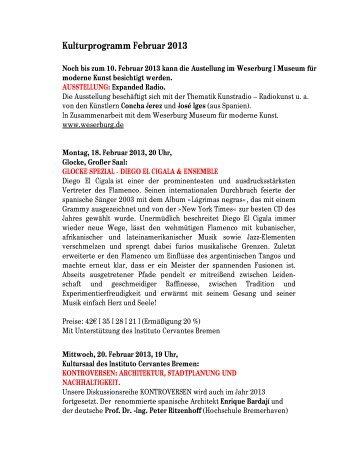 Kulturprogramm Februar 2013 - Instituto Cervantes Bremen