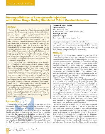 Incompatibilities of Lansoprazole Injection with Other ... - Stabilis