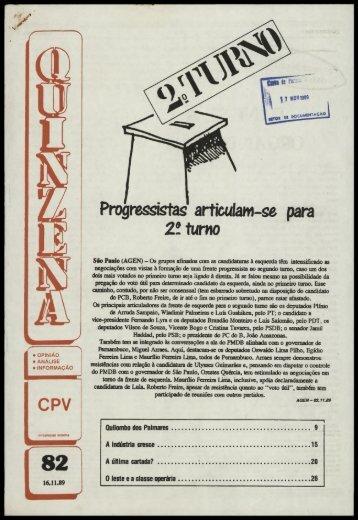 Progressistas artícuíaw-se para 2? turno - Centro de Documentação ...
