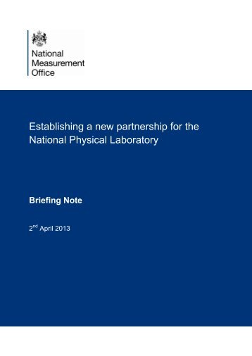 Establishing a new partnership for the National Physical Laboratory