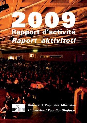 Rapport d'activité Raport aktiviteti - Université Populaire Albanaise