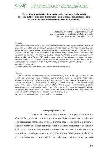 Duração / temporalidade / desmaterialização (ou quase ... - anpap