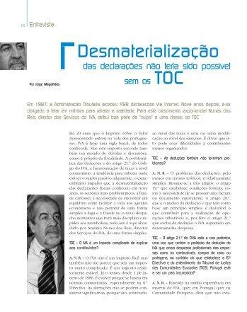 Desmaterialização - Ordem dos Técnicos Oficiais de Contas
