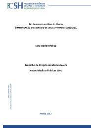 Sara Isabel Branco Trabalho de Projeto de Mestrado em Novos ...