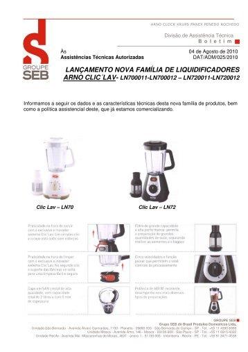 lançamento nova família de liquidificadores - Arno - Assistência ...