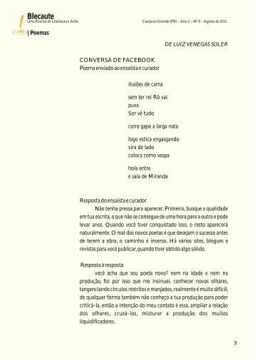 POEMAS: Conversa no Facebook – Luís ... - Revista Blecaute