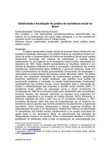 Seletividade e focalização da política de assistência social no Brasil