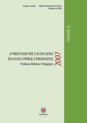 VOLUME II - Secretaria de Estado da Educação do Paraná