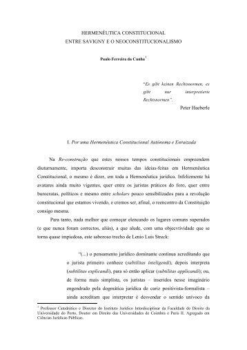 Hermenêutica Constitucional entre Savigny e o Neoconstitucionalismo