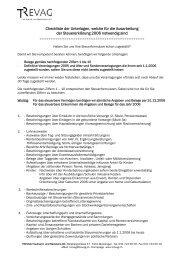 Checkliste der Unterlagen, welche für die Ausarbeitung