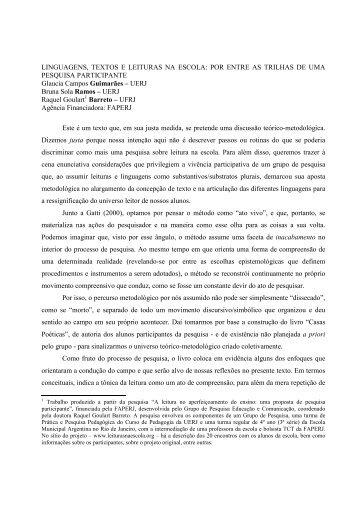 LINGUAGENS, TEXTOS E LEITURAS NA ESCOLA: POR ... - ANPEd
