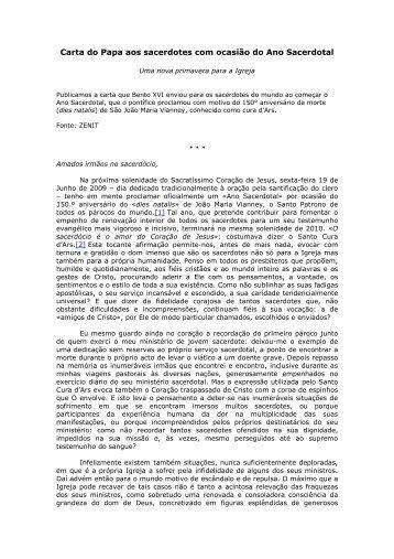 Carta do Papa aos sacerdotes com ocasi_o do - Diocese Cachoeiro