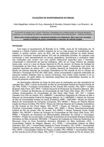 Coleções de Invertebrados no Brasil - Cria
