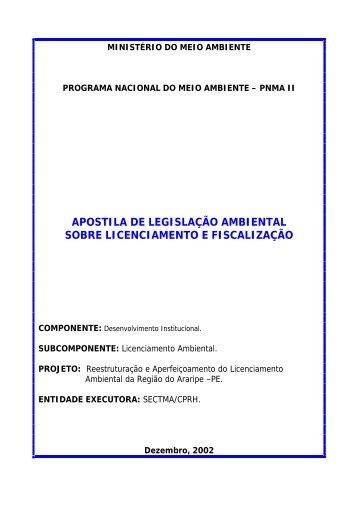 apostila de legislação ambiental sobre licenciamento e - CPRH