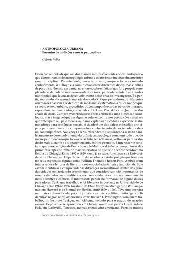 ANTROPOLOGIA URBANA Encontro de tradições e novas ... - SciELO