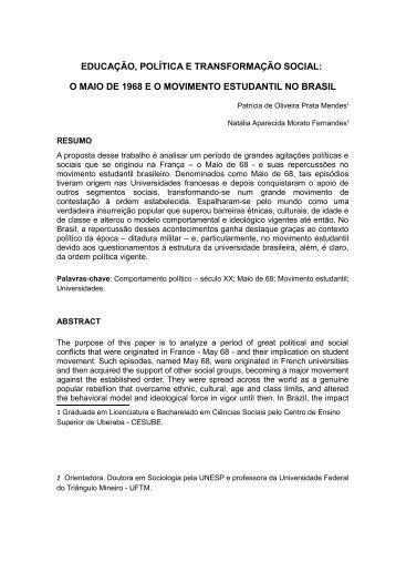 EDUCAÇÃO, POLÍTICA E TRANSFORMAÇÃO SOCIAL: O ... - UFTM