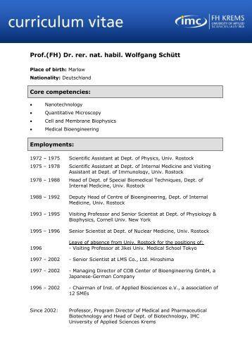 Curriculum Vitae - Vorlage - IMC Fachhochschule Krems Gmbh