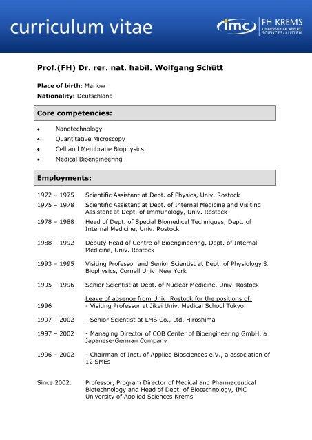 Curriculum Vitae Vorlage Imc Fachhochschule Krems Gmbh