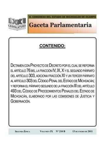 CONTENIDO: - H. Congreso del Estado de Michoacan de Ocampo