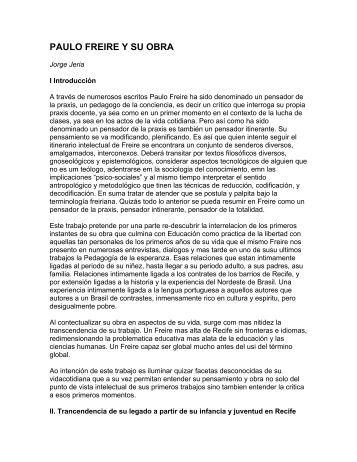 paulo freire y su obra - Centro Paulo Freire - Estudos e Pesquisas